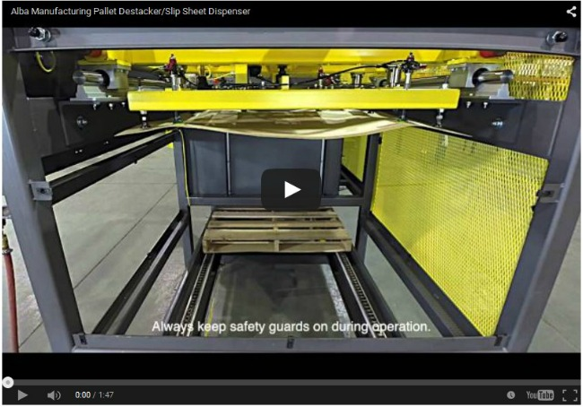 Alba Manufacturing Pallet Destacker/Slip Sheet Dispenser Video